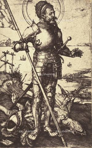 AVQ-A-000493-0055 - San Giorgio a piedi, incisione di Albrecht Durer - Data dello scatto: 1861 - Raccolte Museali Fratelli Alinari (RMFA), Firenze
