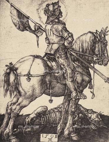 AVQ-A-000493-0056 - San Giorgio a cavallo, incisione di Albrecht Durer - Data dello scatto: 1861 - Raccolte Museali Fratelli Alinari (RMFA), Firenze