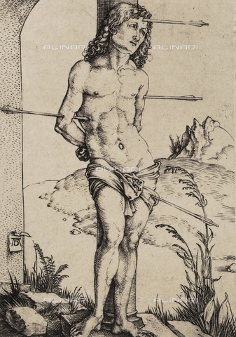 AVQ-A-000493-0058 - San Sebastiano alla colonna, incisione di Albrecht Durer - Data dello scatto: 1861 - Raccolte Museali Fratelli Alinari (RMFA), Firenze