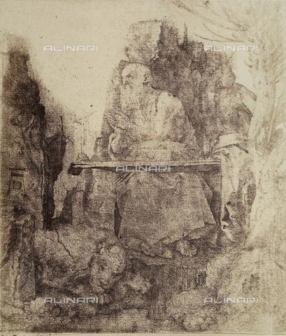 AVQ-A-000493-0061 - San Girolamo, incisione di Albrecht Durer - Data dello scatto: 1861 - Raccolte Museali Fratelli Alinari (RMFA), Firenze