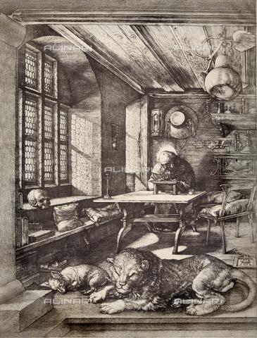 AVQ-A-000493-0062 - San Girolamo nello studio, incisione di Albrecht Durer - Data dello scatto: 1861 - Raccolte Museali Fratelli Alinari (RMFA), Firenze