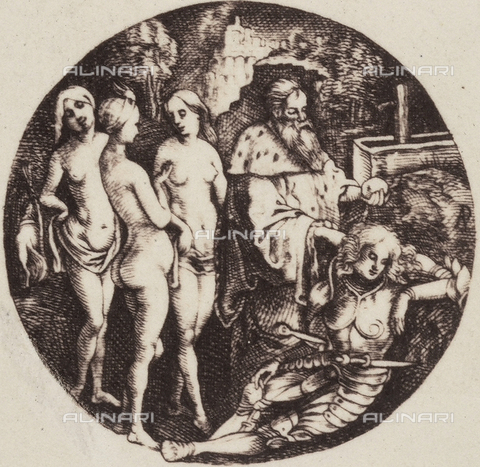 AVQ-A-000493-0067 - Il Giudizio di Paride, incisione di Albrecht Durer - Data dello scatto: 1861 - Raccolte Museali Fratelli Alinari (RMFA), Firenze