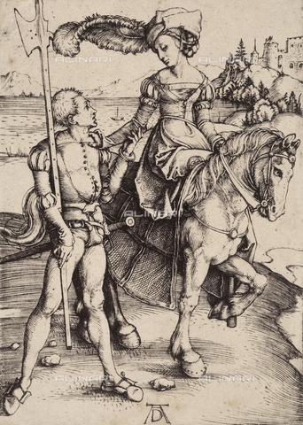 AVQ-A-000493-0084 - Dama a cavallo, incisione di Albrecht Durer - Data dello scatto: 1861 - Raccolte Museali Fratelli Alinari (RMFA), Firenze