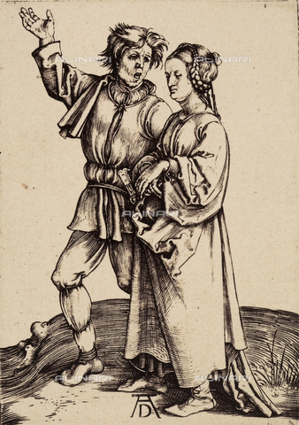 AVQ-A-000493-0085 - The country man and his wife, engraving by Albrecht Durer - Data dello scatto: 1861 - Archivi Alinari, Firenze