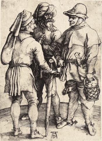 AVQ-A-000493-4088 - Incisione di Albrecht Durer raffigurante tre personaggi maschili - Data dello scatto: 1861 - Raccolte Museali Fratelli Alinari (RMFA), Firenze