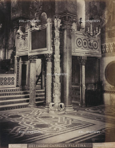 AVQ-A-000570-0011 - Inner view of the Cappella Palatina in Palermo with the ambo and the Easter candelabrum - Data dello scatto: 1880-1890 - Archivi Alinari, Firenze