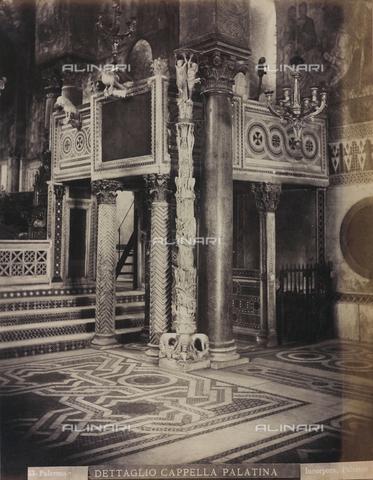 AVQ-A-000570-0011 - Interno della Cappella Palatina di Palermo con il pulpito e il candelabro pasquale - Data dello scatto: 1880-1890 - Raccolte Museali Fratelli Alinari (RMFA), Firenze