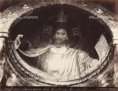 AVQ-A-000570-0035 - Cristo Pantocratore, mosaico di Scuola Bizantina nell'abside del Duomo di Monreale - Data dello scatto: 1880-1890 - Raccolte Museali Fratelli Alinari (RMFA), Firenze