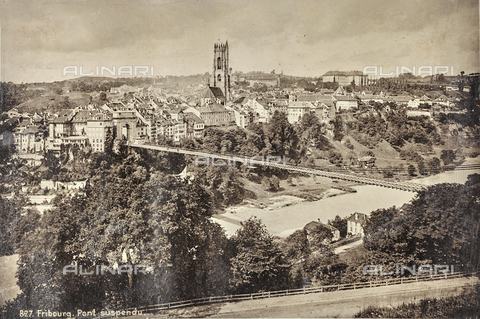 AVQ-A-000992-0146 - Panorama of Freiburg with the suspension bridge - Date of photography: 1890-1900 - Fratelli Alinari Museum Collections, Florence
