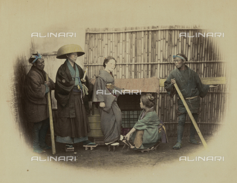 AVQ-A-000994-0010 - Group of Japanese people in traditional dress - Data dello scatto: 1863-1877 - Archivi Alinari, Firenze