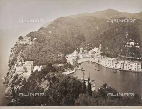 "AVQ-A-001038-0044 - Album ""Gênes et ses environs octobre 1891 - 1307"": view of Portofino, Levante Riviera. Date 1307 refers to the Rumi calendar (calendar used since 1839 by the Ottoman Empire and the Turkish Republic until 1926) - Data dello scatto: 10/1891 - Archivi Alinari, Firenze"