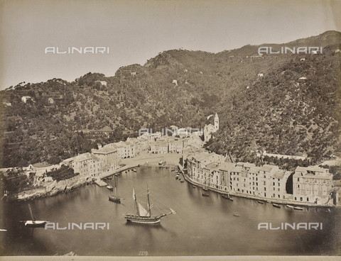 "AVQ-A-001038-0045 - Album ""Gênes et ses environs octobre 1891 - 1307"": view of Portofino, Levante Riviera. Date 1307 refers to the Rumi calendar (calendar used since 1839 by the Ottoman Empire and the Turkish Republic until 1926) - Data dello scatto: 10/1891 - Archivi Alinari, Firenze"