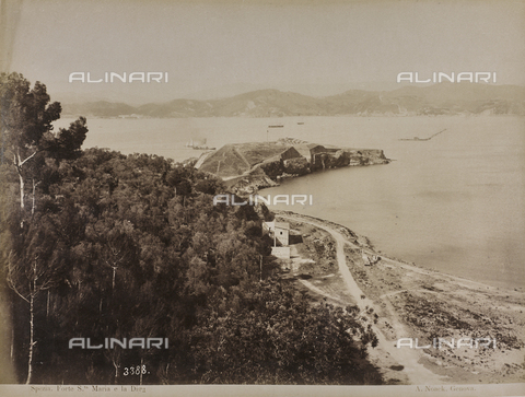 "AVQ-A-001038-0076 - Album ""Gênes et ses environs octobre 1891 - 1307"": panorama of Forte Santa Maria and the dam in the Gulf of La Spezia. Date 1307 refers to the Rumi calendar (calendar used since 1839 by the Ottoman Empire and the Turkish Republic until 1926) - Data dello scatto: 10/1891 - Archivi Alinari, Firenze"