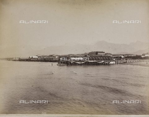 "AVQ-A-001038-0090 - Album ""Gênes et ses environs octobre 1891 - 1307"": View of the bathing establishments of Viareggio. Date 1307 refers to the Rumi calendar (calendar used since 1839 by the Ottoman Empire and the Turkish Republic until 1926) - Data dello scatto: 10/1891 - Archivi Alinari, Firenze"