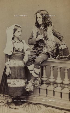 "AVQ-A-001220-0016 - Album ""Traditional costumes"": portrait of little boy and girl in traditional costume in traditional costume of Saracinesco"