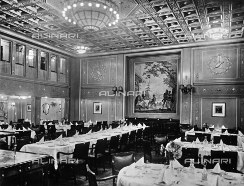 "AVQ-A-001383-0013 - First class dining room on the transatlantic ""Europa"" furnished by the Jbus company"