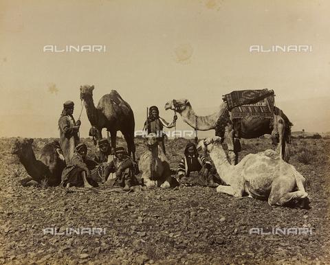 """AVQ-A-001581-0042 - Album """" Damas et Baalbek """": A group of Syrians with dromedaries - Data dello scatto: 1880 ca. - Archivi Alinari, Firenze"""