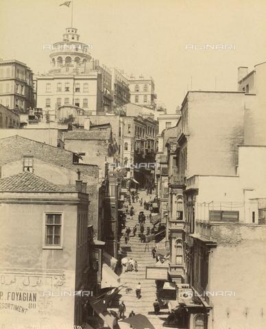 """AVQ-A-001826-0012 - """"Souvenir de Costantinople"""": strada di Costantinopoli a forma di scalinata - Data dello scatto: 1860-1890 ca. - Archivi Alinari, Firenze"""