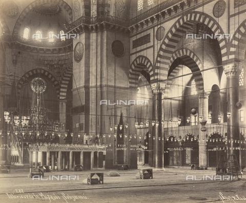 """AVQ-A-001826-0025 - """"Souvenir de Costantinople"""": interno della Moschea di Solimano - Data dello scatto: 1860-1890 ca. - Archivi Alinari, Firenze"""