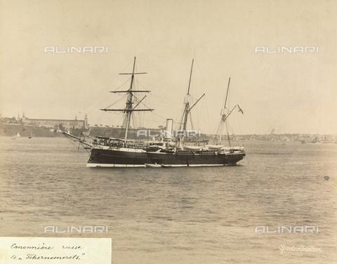 """AVQ-A-001826-0044 - """"Souvenir de Costantinople"""": nave da cannoni russa """"Tchernomorets"""" - Data dello scatto: 1860-1890 ca. - Archivi Alinari, Firenze"""