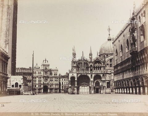 AVQ-A-002026-0004 - Glimpse of Piazza San Marco in Venice, with the façade of the Basilica, the Palazzo Ducale and the Torre dell'Orologio (Clock Tower) - Data dello scatto: 1870-1880 - Archivi Alinari, Firenze