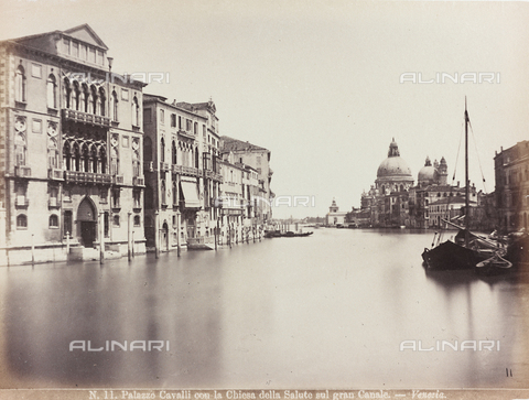 AVQ-A-002026-0010 - View of the Grand Canal in Venice, with the façade of Palazzo Cavalli Franchetti and the Church of Santa Maria della Salute - Data dello scatto: 1870-1880 - Archivi Alinari, Firenze