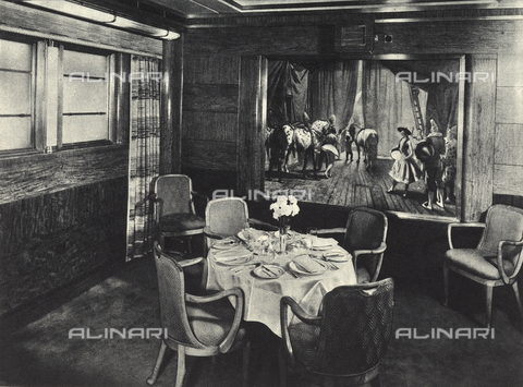 AVQ-A-002346-0009 - R.M.S. Queen Mary: one of the four small private dining halls of the transatlantic Queen Mary