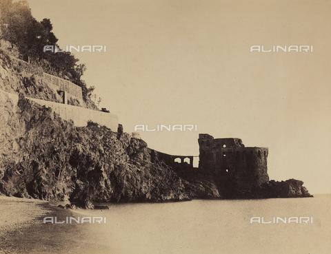 AVQ-A-002966-0111 - The coast of Maiori, in the Gulf of Salerno, with a small defensive fort - Data dello scatto: 1854-1863 ca. - Archivi Alinari, Firenze