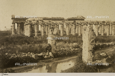 AVQ-A-002966-0122 - The Gate of Justice, the Basilica, the Temple of Neptune and the Temple of Ceres taken from the southwest at Paestum - Data dello scatto: 1859 - Archivi Alinari, Firenze