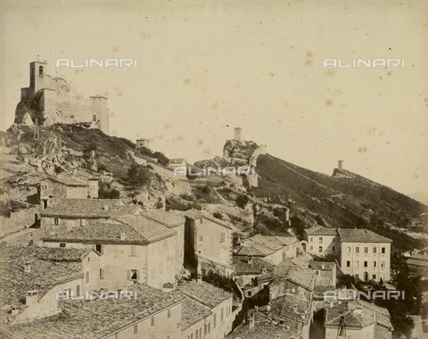 """AVQ-A-003554-0044 - """"Rocche e roccie"""" (Rocks and Fortresses): view of the """"Tre Penne"""" or three towers, the Rocca or fortress of Guaita, the Towers of Fratta and Montale, Republic of San Marino - Date of photography: 1892-1899 - Fratelli Alinari Museum Collections, Florence"""