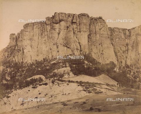 """AVQ-A-003554-0094 - """"Rocche e roccie"""" (Rocks and Fortresses): the Pietra di Bismantova, in the Appennino Reggiano region, Castelnovo nè Monti - Date of photography: 1892-1899 - Fratelli Alinari Museum Collections, Florence"""