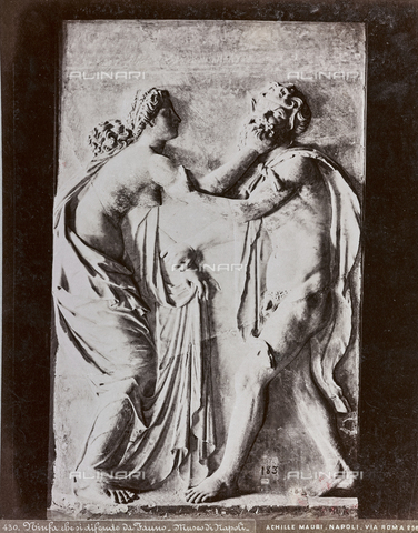AVQ-A-003747-0034 - Fauno abducting a Baccante, marble, relief from Herculaneum, Ancient Art of I-III sec. BC, National Archaeological Museum, Naples - Date of photography: 1872-1882 - Fratelli Alinari Museum Collections, Florence