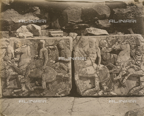"""AVQ-A-003848-0005 - """"Souvenirs d'Orient"""": metope of the Parthenon, Athens - Date of photography: 1871 - Fratelli Alinari Museum Collections, Florence"""