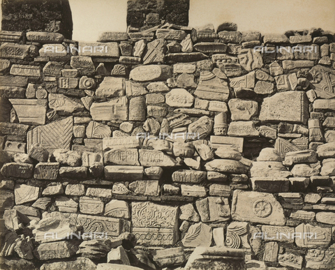 """AVQ-A-003848-0010 - """"Souvenirs d'Orient"""": friezes and fragments of sculptures in the Acropolis, Athens - Date of photography: 1871 - Fratelli Alinari Museum Collections, Florence"""