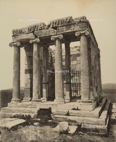 """AVQ-A-003848-0012 - """"Souvenirs d'Orient"""": temple of Athena Nike on the Acropolis of Athens - Date of photography: 1871 - Fratelli Alinari Museum Collections, Florence"""