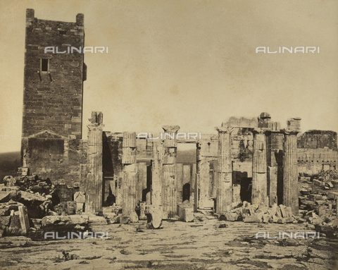 """AVQ-A-003848-0013 - """"Souvenirs d'Orient"""": Propylaea of the Acropolis of Athens - Date of photography: 1871 - Fratelli Alinari Museum Collections, Florence"""