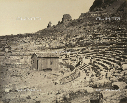 """AVQ-A-003848-0015 - """"Souvenirs d'Orient"""": ruins of the Theatre of Dionysus on the Acropolis of Athens - Date of photography: 1871 - Fratelli Alinari Museum Collections, Florence"""