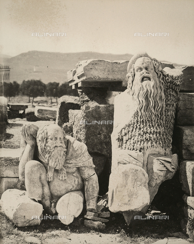 """AVQ-A-003848-0017 - """"Souvenirs d'Orient"""": ruins of reliefs in the Theatre of Dionysus on the Acropolis of Athens - Date of photography: 1871 - Fratelli Alinari Museum Collections, Florence"""
