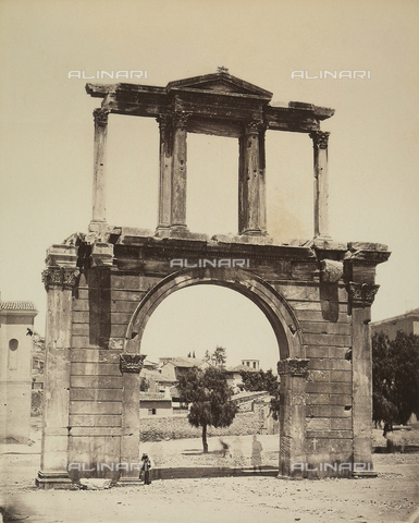 """AVQ-A-003848-0026 - """"Souvenirs d'Orient"""": Hadrian's Arch in the Acropolis of Athens - Date of photography: 1871 - Fratelli Alinari Museum Collections, Florence"""