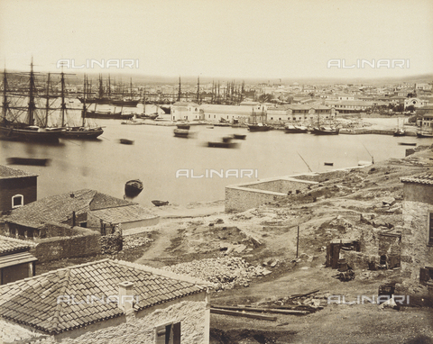 """AVQ-A-003848-0037 - """"Souvenirs d'Orient"""": the port of Pireus, Athens - Date of photography: 1871 - Fratelli Alinari Museum Collections, Florence"""
