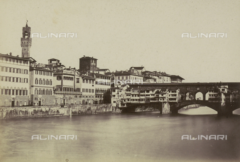 AVQ-A-003862-0024 - Florence along the Arno river: Ponte Vecchio - Date of photography: 1860 ca. - Fratelli Alinari Museum Collections, Florence