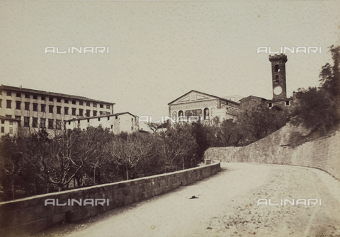 AVQ-A-003862-0080 - The bell tower of the Cathedral of Fiesole seen from Via Frà Giovanni Angelico - Data dello scatto: 1865 ca. - Archivi Alinari, Firenze