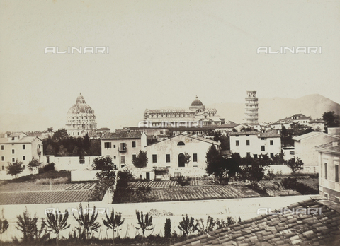 AVQ-A-003862-0112 - Panoramic view of Pisa; in the background, the complex of the Cathedral, the Leaning Tower and the Baptistery are visib;e - Data dello scatto: 1865 ca. - Archivi Alinari, Firenze
