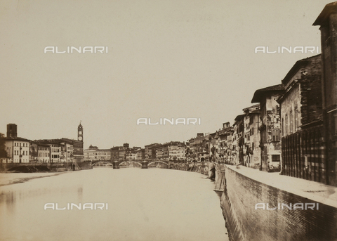 AVQ-A-003862-0114 - View of Ponte di Mezzo in Pisa taken from the Lungarno - Data dello scatto: 1865 ca. - Archivi Alinari, Firenze