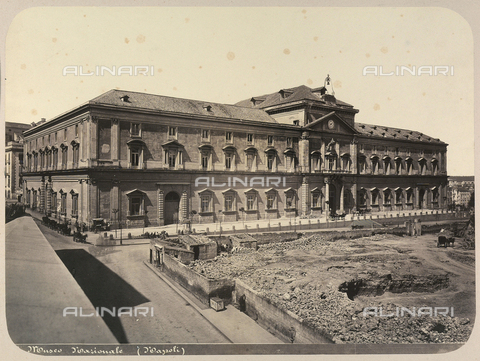 AVQ-A-004117-0018 - The Palazzo del Museo Archeologico Nazionale in Naples. Urbanization construction is visible in the area in front of the building - Date of photography: 1865 ca. - Fratelli Alinari Museum Collections, Florence
