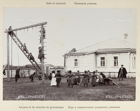 "AVQ-A-004203-0002 - Album, ""Russie. Ministere de l'instruction publique. District scolaire du Caucasian, gouvernement de Stavropol, ecole des Kalmouks"": students Kalmyks (or even calmicchi, kalmyki) primary school Kalmouks during gymnastics"