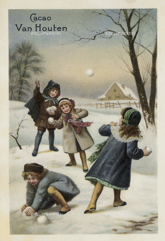 AVQ-A-004276-0280 - 'Cacao Van Houten' jar label, group of children playing in a snow landscape, Holland