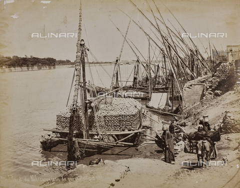 AVQ-A-004496-0051 - Barche cariche di vasi e gargoulettes (brocche) sulla riva del Nilo - Data dello scatto: 1890 ca. - Raccolte Museali Fratelli Alinari (RMFA), Firenze