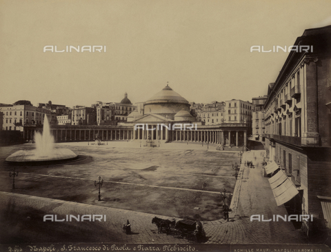 AVQ-A-004646-0055 - Historical view of the Basilica of St. Francesco di Paola in Plebiscito Square in Naples - Date of photography: 1890 ca. - Fratelli Alinari Museum Collections, Florence