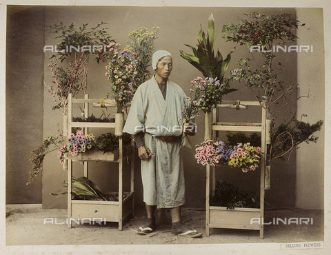 AVQ-A-004838-0091 - Portrait of a Japanese seller of flowers